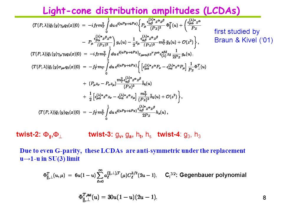 88 Light-cone distribution amplitudes (LCDAs) twist-2:  ∥,   twist-3: g v, g a, h t, h s twist-4: g 3, h 3 8 C i 3/2 : Gegenbauer polynomial Due to
