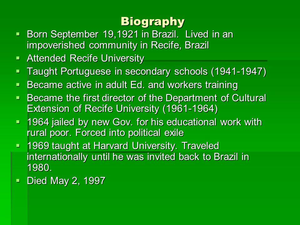 Biography  Born September 19,1921 in Brazil.