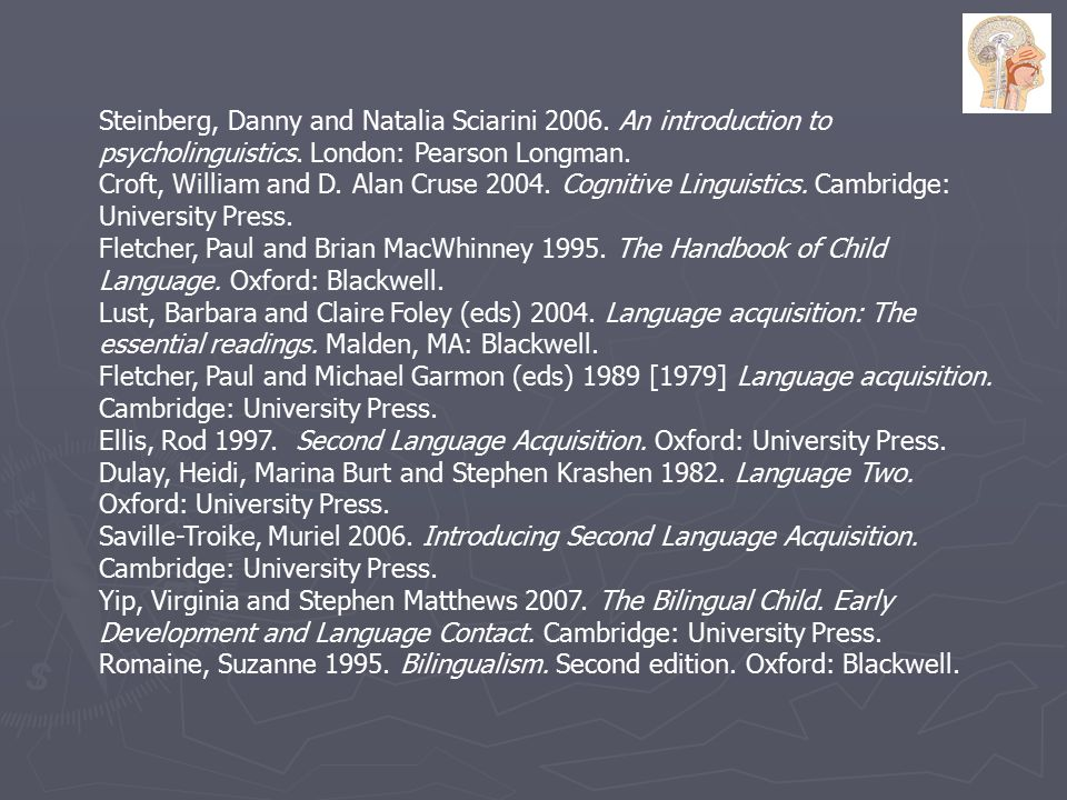 Steinberg, Danny and Natalia Sciarini 2006.An introduction to psycholinguistics.