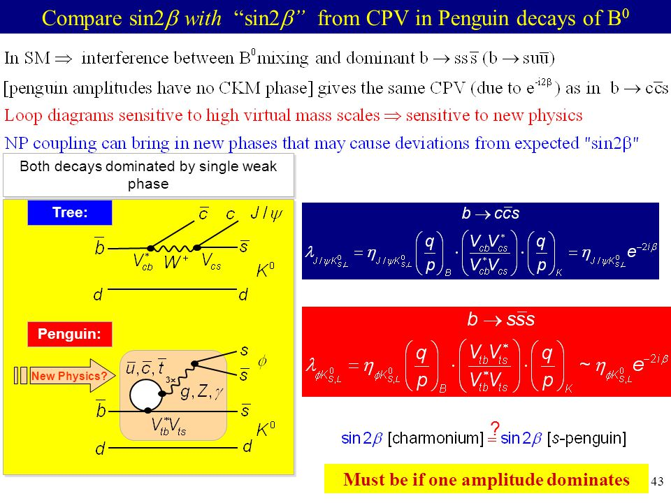 42 Compare sin2  with sin2  from CPV in Penguin decays of B 0 Both decays dominated by single weak phase Penguin: Tree: New Physics.