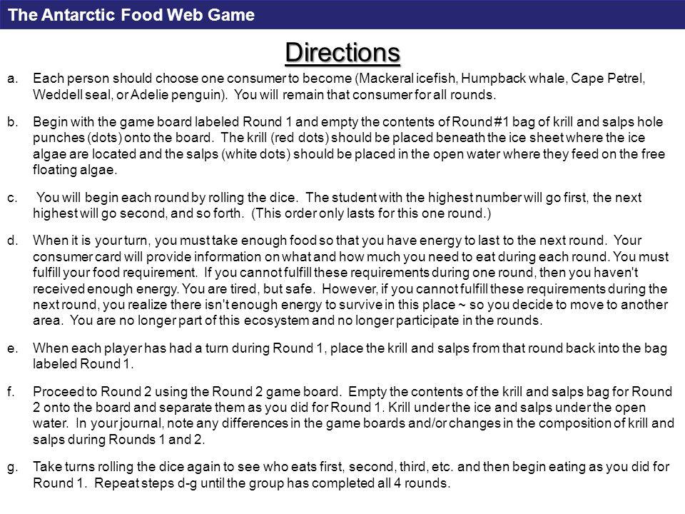 Free Floating Algae Ice Sheet Round 1 Sea ice algae The Antarctic Food Web Game