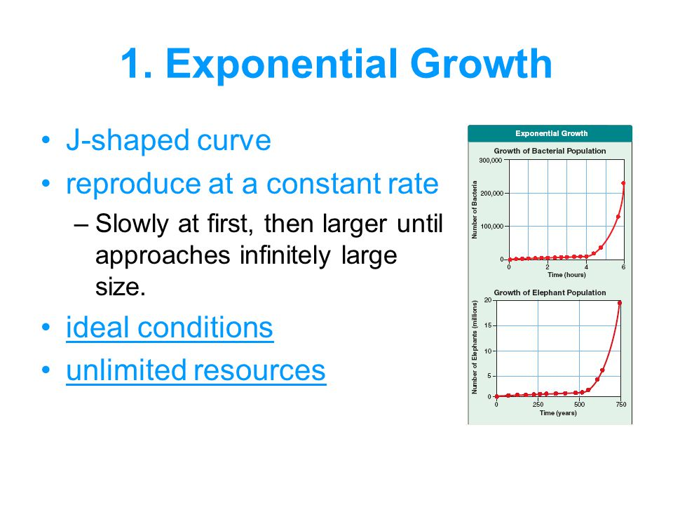J-shaped curve reproduce at a constant rate –Slowly at first, then larger until approaches infinitely large size.