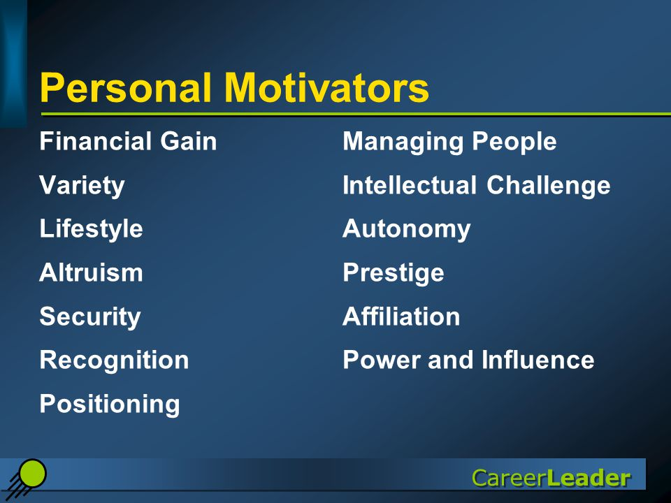CareerLeader Personal Motivators Financial GainManaging People VarietyIntellectual Challenge LifestyleAutonomy AltruismPrestige SecurityAffiliation RecognitionPower and Influence Positioning