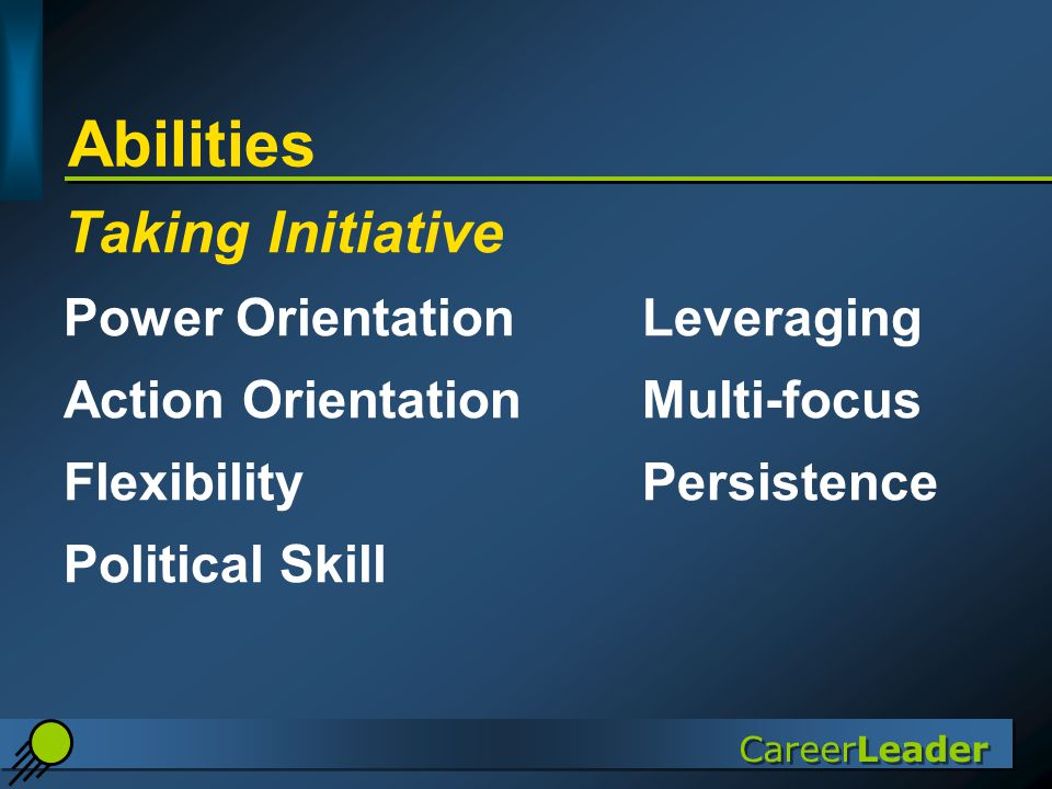 CareerLeader Abilities Taking Initiative Power OrientationLeveraging Action Orientation Multi-focus FlexibilityPersistence Political Skill