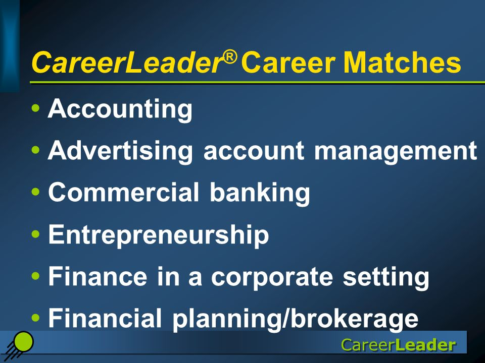 CareerLeader CareerLeader ® Career Matches  Accounting  Advertising account management  Commercial banking  Entrepreneurship  Finance in a corporate setting  Financial planning/brokerage