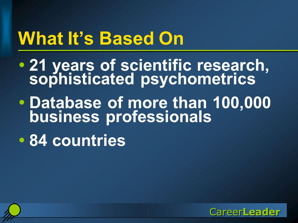 CareerLeader What It's Based On  21 years of scientific research, sophisticated psychometrics  Database of more than 100,000 business professionals  84 countries