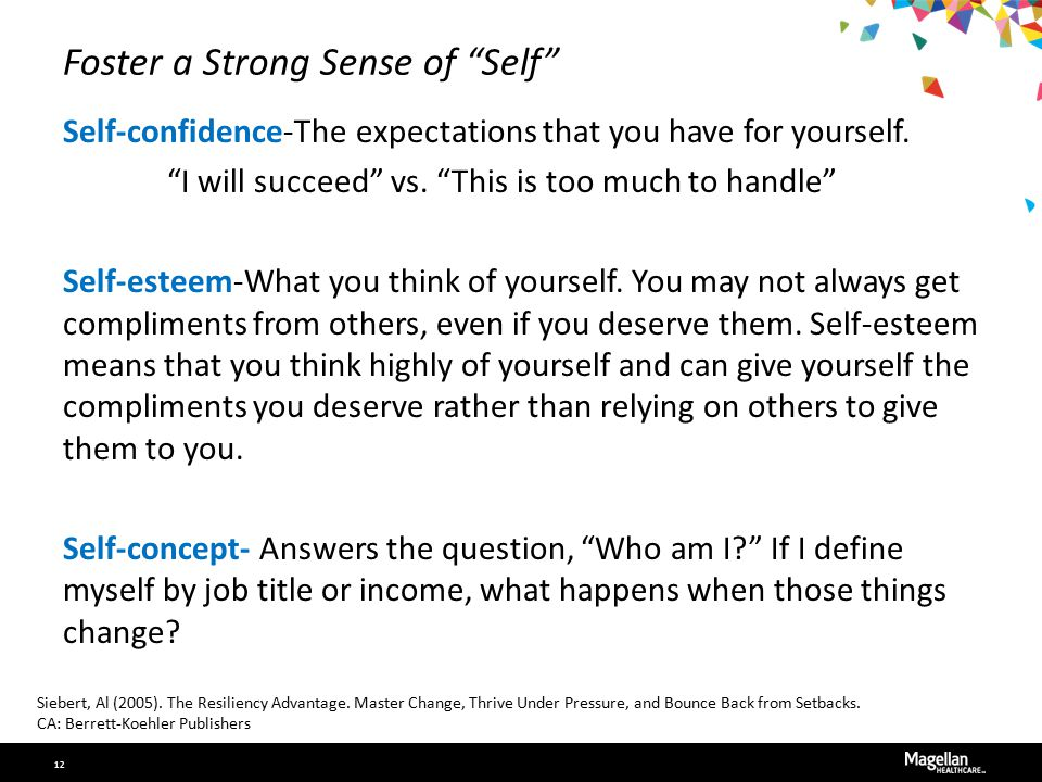"""Foster a Strong Sense of """"Self"""" Self-confidence-The expectations that you have for yourself. """"I will succeed"""" vs. """"This is too much to handle"""" Self-es"""