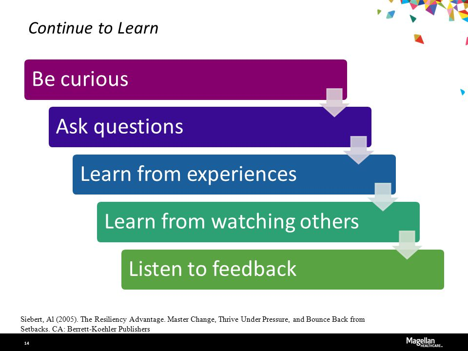 Continue to Learn Be curiousAsk questionsLearn from experiencesLearn from watching othersListen to feedback Siebert, Al (2005). The Resiliency Advanta