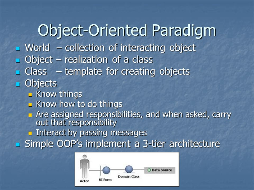 Object-Oriented Paradigm World – collection of interacting object World – collection of interacting object Object – realization of a class Object – realization of a class Class – template for creating objects Class – template for creating objects Objects Objects Know things Know things Know how to do things Know how to do things Are assigned responsibilities, and when asked, carry out that responsibility Are assigned responsibilities, and when asked, carry out that responsibility Interact by passing messages Interact by passing messages Simple OOP's implement a 3-tier architecture Simple OOP's implement a 3-tier architecture