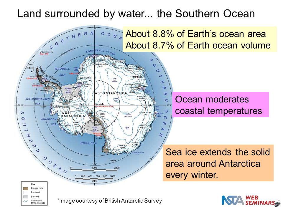 Land surrounded by water... the Southern Ocean About 8.8% of Earth's ocean area About 8.7% of Earth ocean volume Ocean moderates coastal temperatures