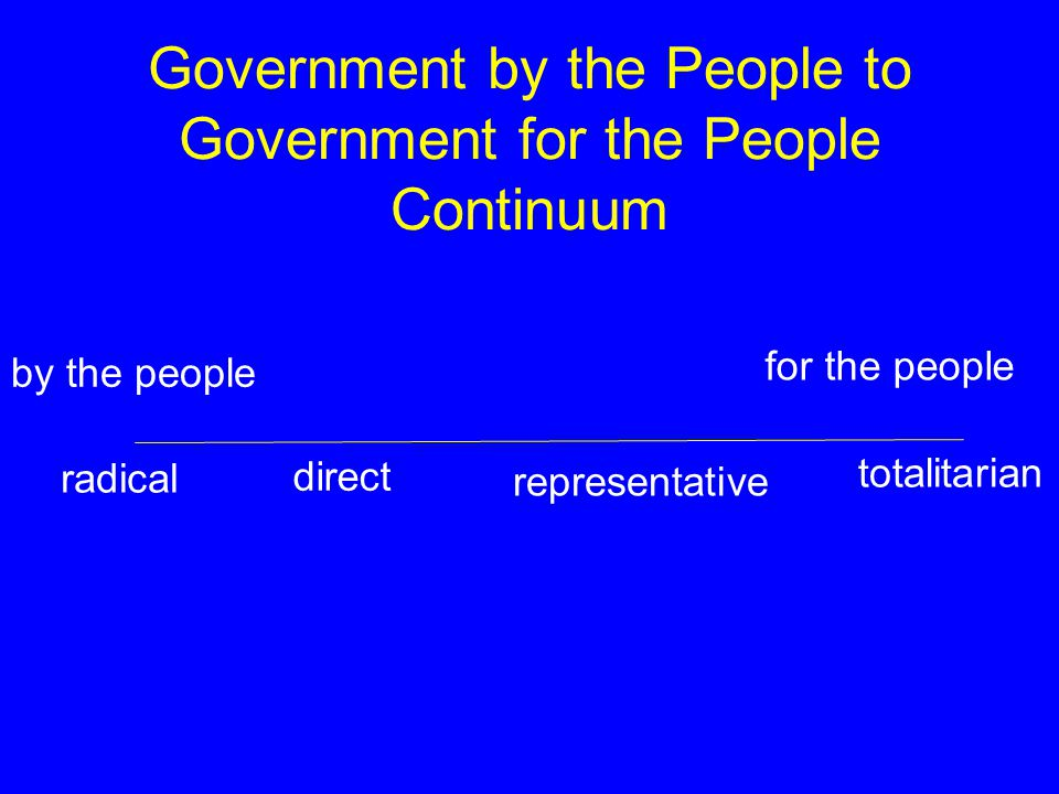 Government by the People to Government for the People Continuum by the people for the people radical direct representative totalitarian