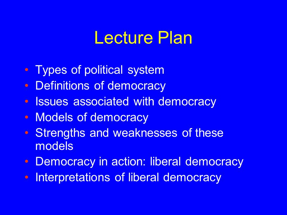 Lecture Plan Types of political system Definitions of democracy Issues associated with democracy Models of democracy Strengths and weaknesses of these models Democracy in action: liberal democracy Interpretations of liberal democracy