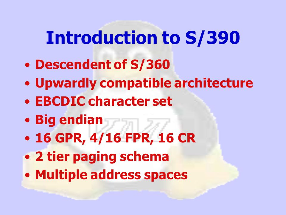 Introduction to S/390 Huge range of processors supported: –Cards that fit in a lap top –Desktop and tower models –16-way SMP configurations Emulators for your PC –Hercules –Flex-ES