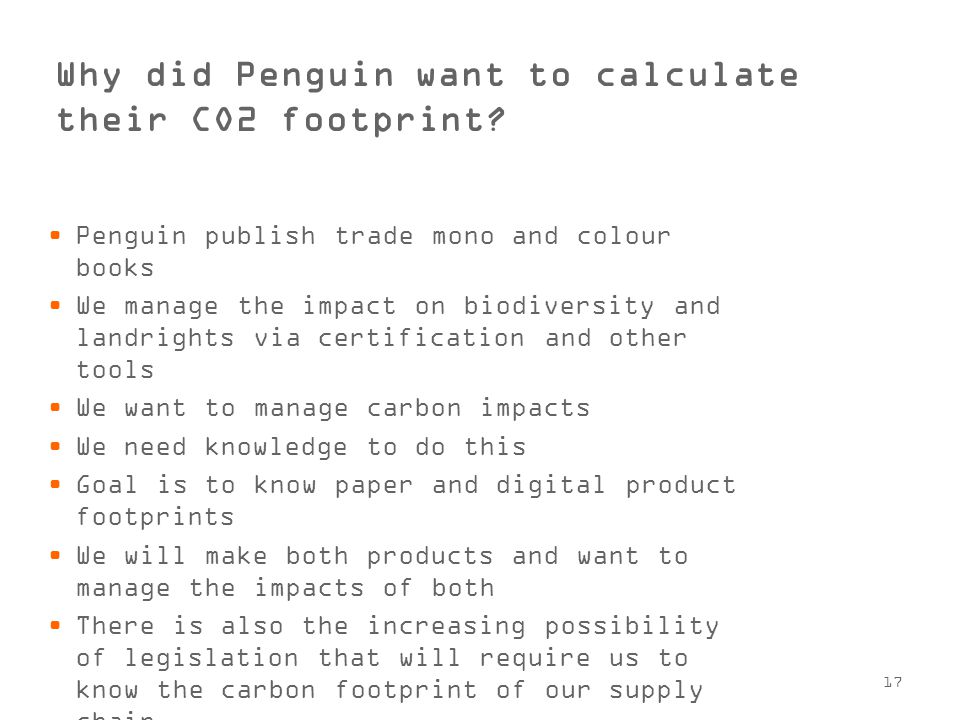 17 Why did Penguin want to calculate their CO2 footprint.