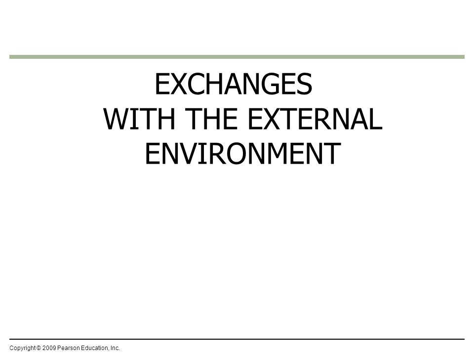 EXCHANGES WITH THE EXTERNAL ENVIRONMENT Copyright © 2009 Pearson Education, Inc.