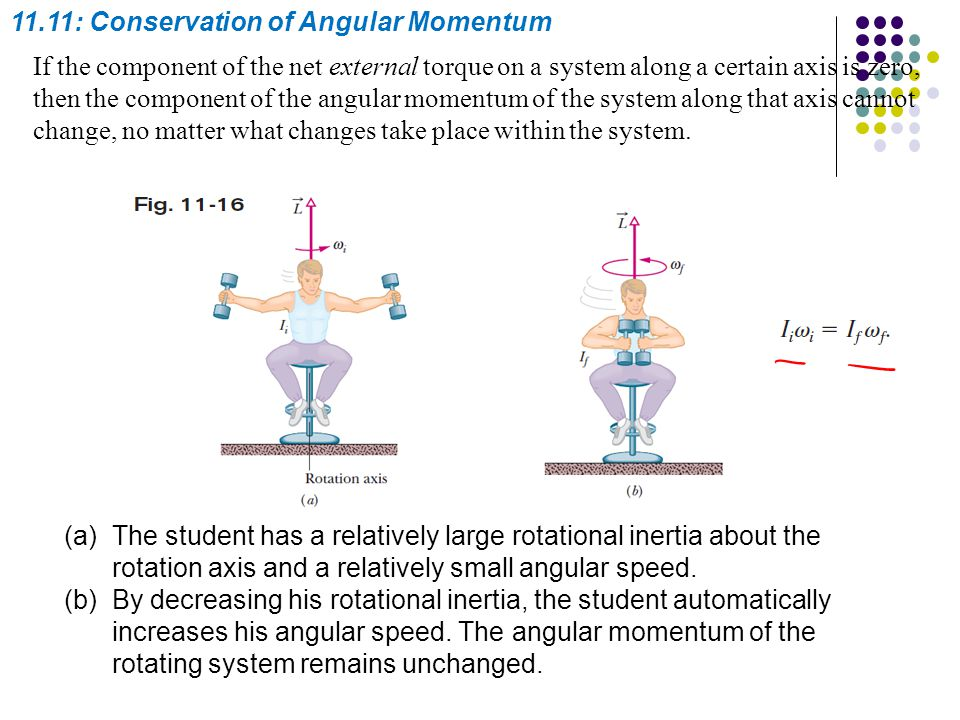11.11: Conservation of Angular Momentum If the component of the net external torque on a system along a certain axis is zero, then the component of th
