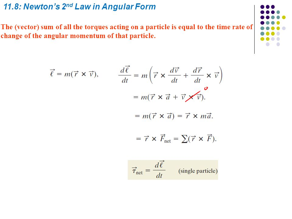 Sample problem: Torque, Penguin Fall Calculations: The magnitude of l can be found by using The perpendicular distance between O and an extension of vector p is the given distance D.