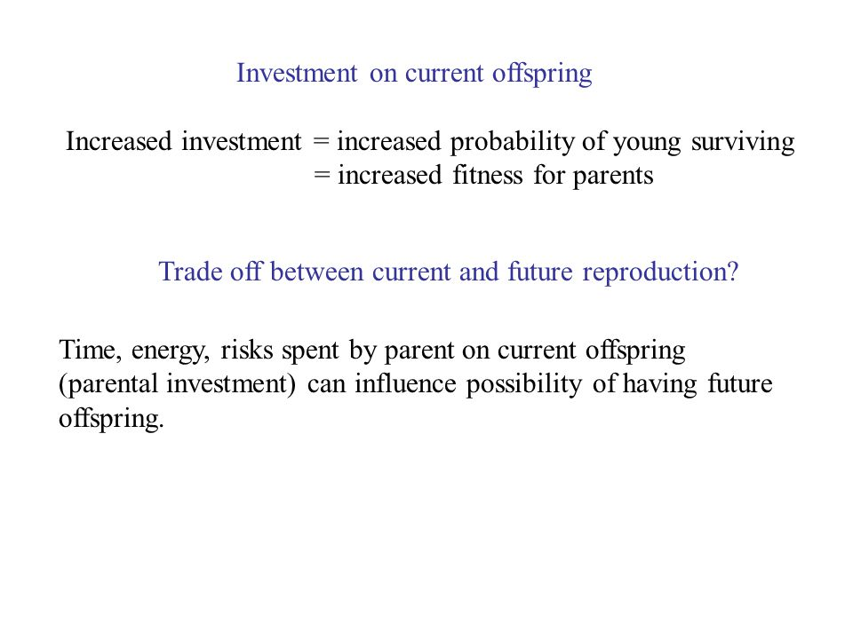 Time, energy, risks spent by parent on current offspring (parental investment) can influence possibility of having future offspring.