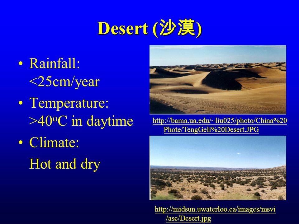 Desert ( 沙漠 ) Rainfall: <25cm/year Temperature: >40 o C in daytime Climate: Hot and dry http://bama.ua.edu/~liu025/photo/China%20 Phote/TengGeli%20Desert.JPG http://midsun.uwaterloo.ca/images/msvi /asc/Desert.jpg