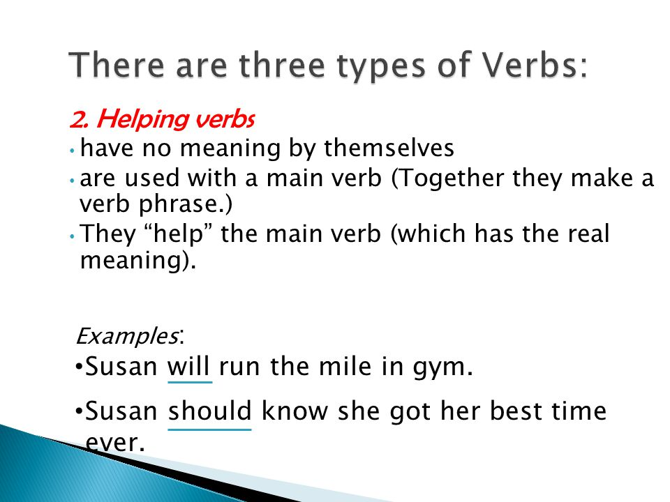 """2. Helping verbs have no meaning by themselves are used with a main verb (Together they make a verb phrase.) They """"help"""" the main verb (which has the"""
