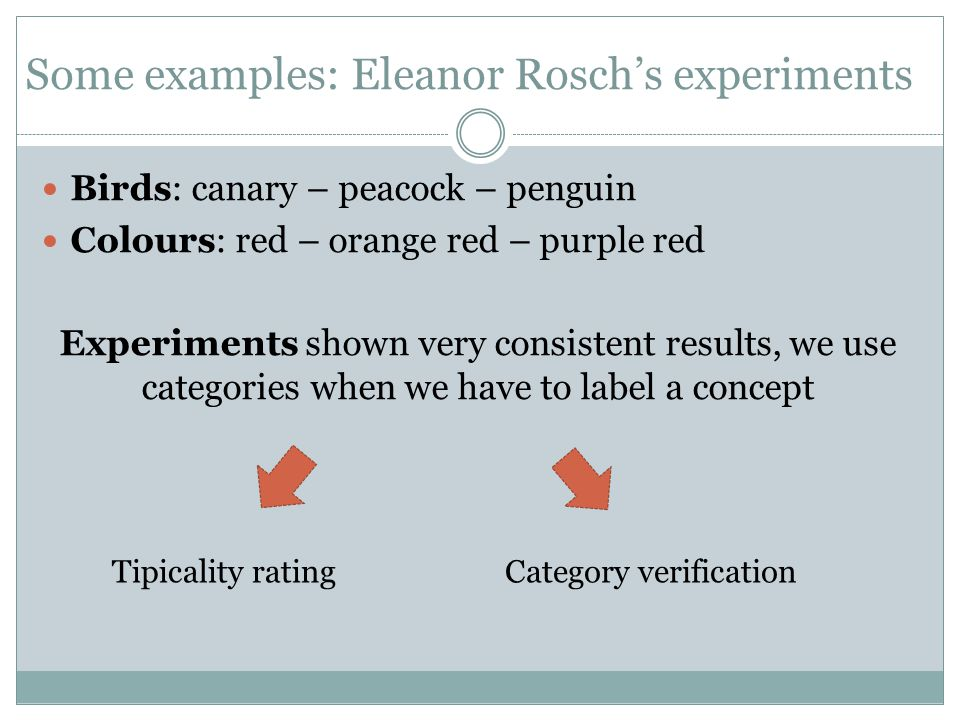 Some examples: Eleanor Rosch's experiments Birds: canary – peacock – penguin Colours: red – orange red – purple red Experiments shown very consistent
