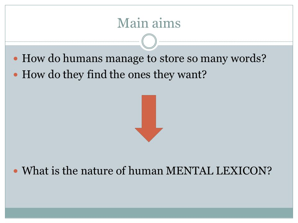 Main aims How do humans manage to store so many words? How do they find the ones they want? What is the nature of human MENTAL LEXICON?