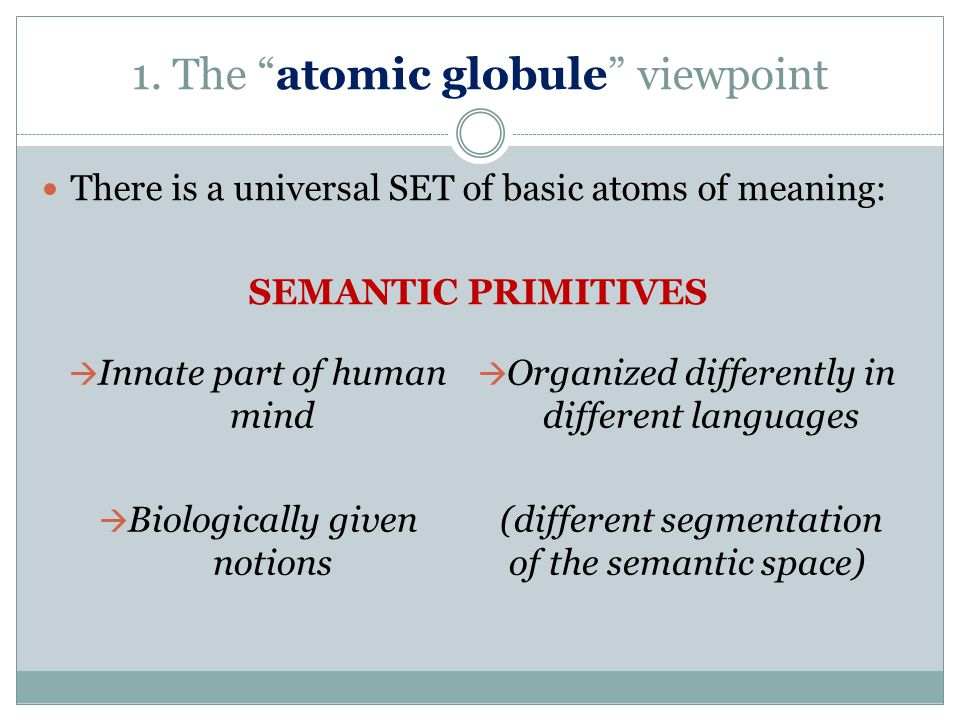 """1. The """"atomic globule"""" viewpoint There is a universal SET of basic atoms of meaning: SEMANTIC PRIMITIVES  Innate part of human mind  Biologically g"""