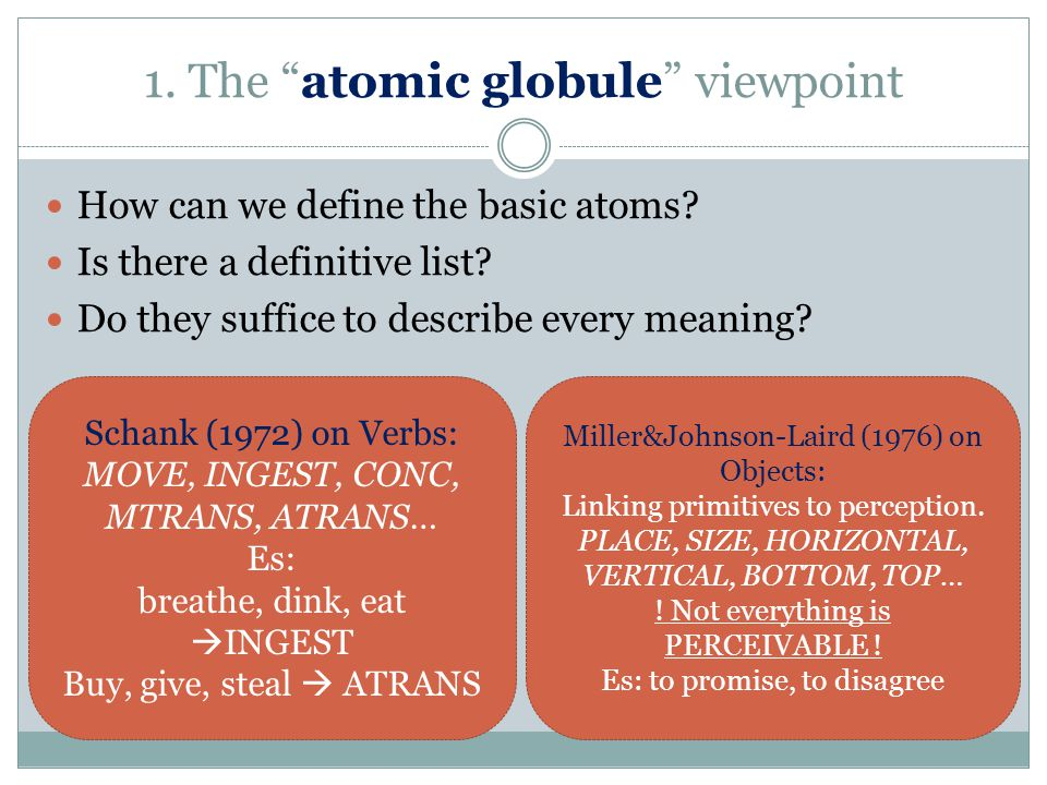 """1. The """"atomic globule"""" viewpoint How can we define the basic atoms? Is there a definitive list? Do they suffice to describe every meaning? Schank (19"""