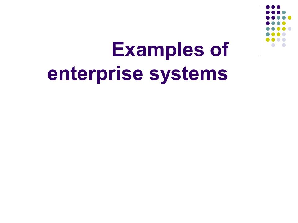 Core enterprise data: Mapping to application types As an alternative to pure integration for some classes of application consolidation is chosen In some cases, the solution is a mix of integration and consolidation CRM, SCM and ERP are common examples of enterprise applications 2 Purchases Shipments Inventory Orders Customers Service Billing AccountingHR Marketing Planning Assets Project management Supply Chain Management Customer Relation ship management ERP