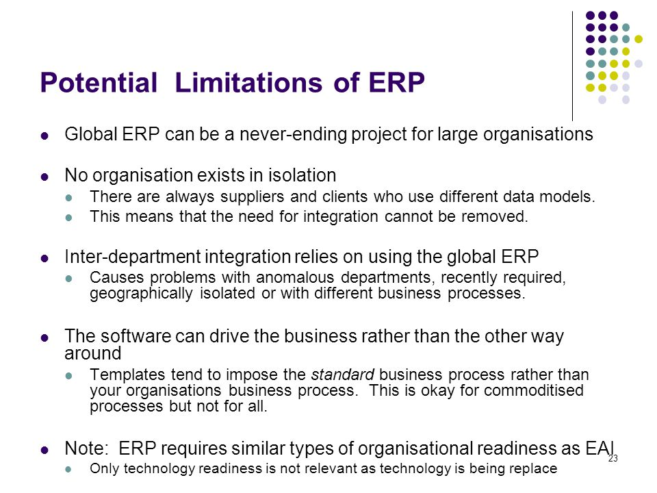 23 Potential Limitations of ERP Global ERP can be a never-ending project for large organisations No organisation exists in isolation There are always