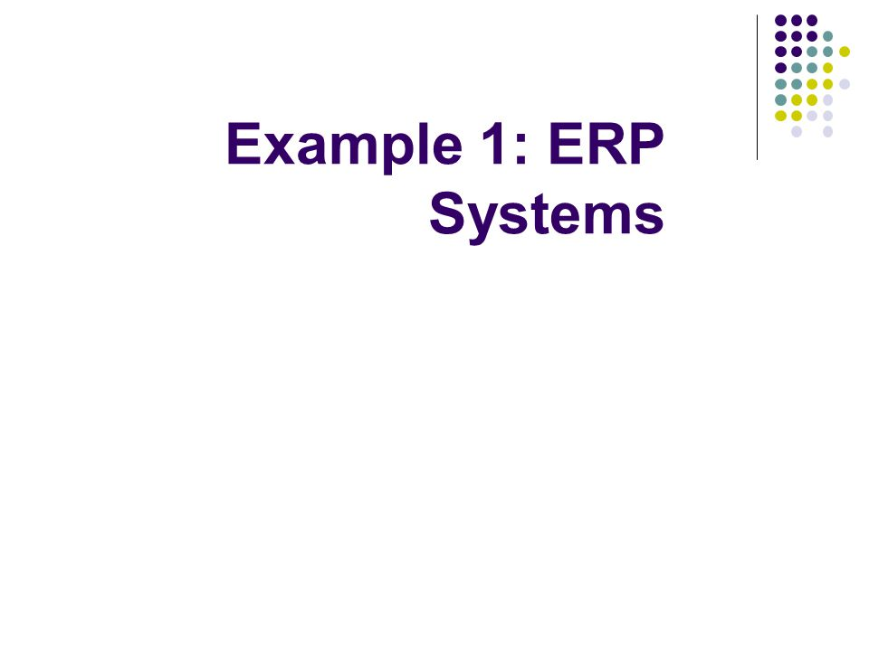 Example 1: ERP Systems