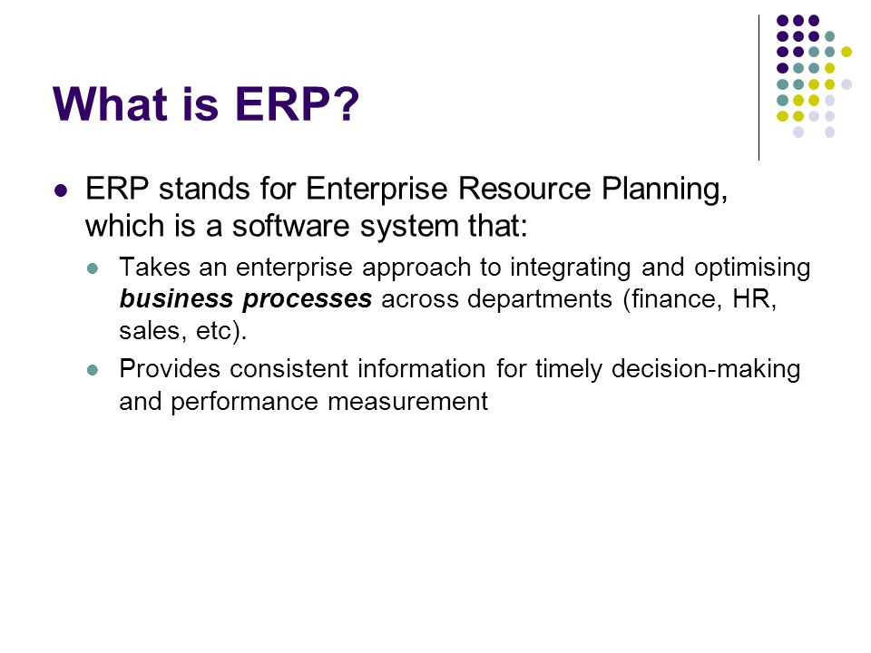 15 Functionality of an ERP e.g.