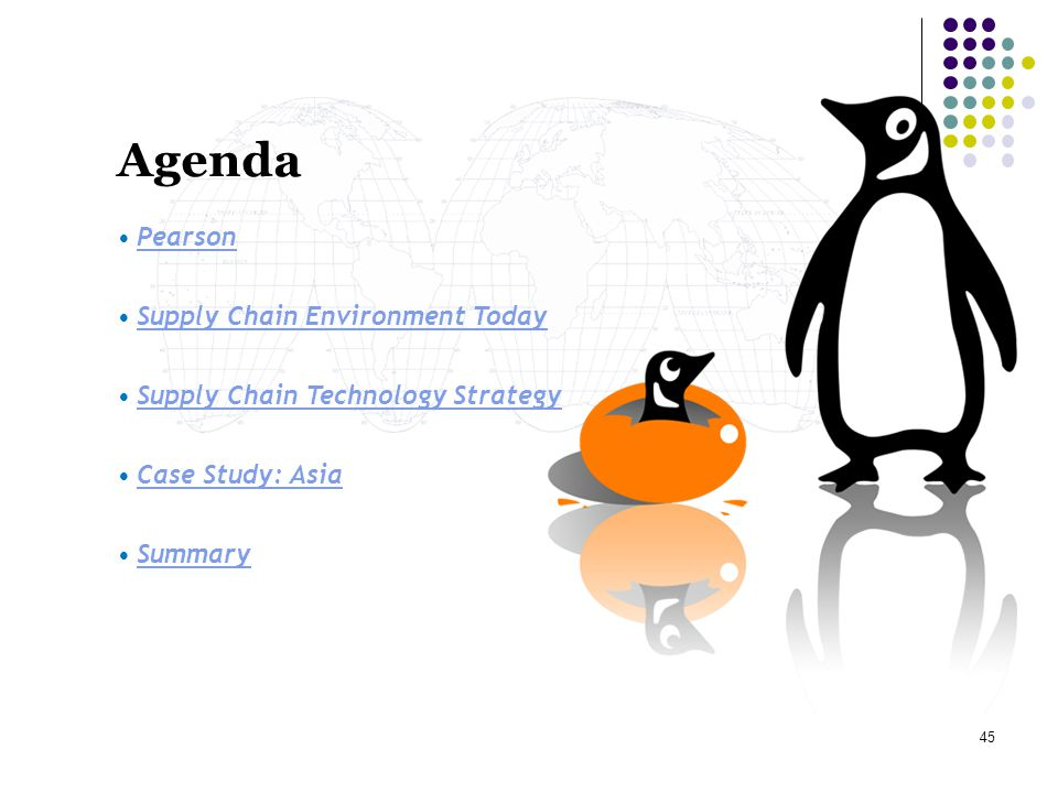 45 Agenda Pearson Supply Chain Environment Today Supply Chain Technology Strategy Case Study: Asia Summary