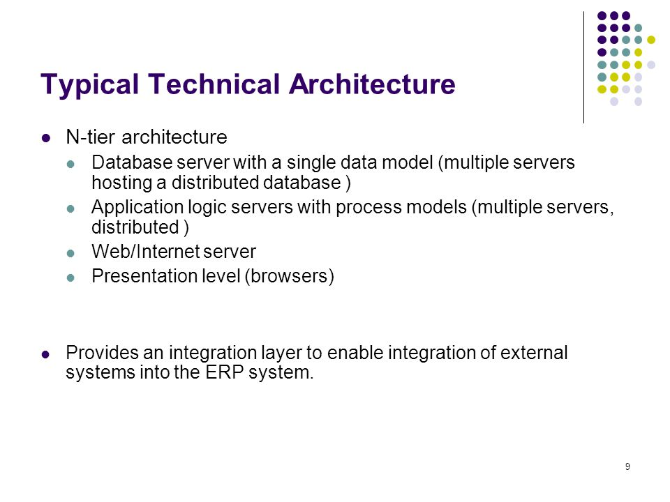 10 Functionality of an ERP e.g. mySAP