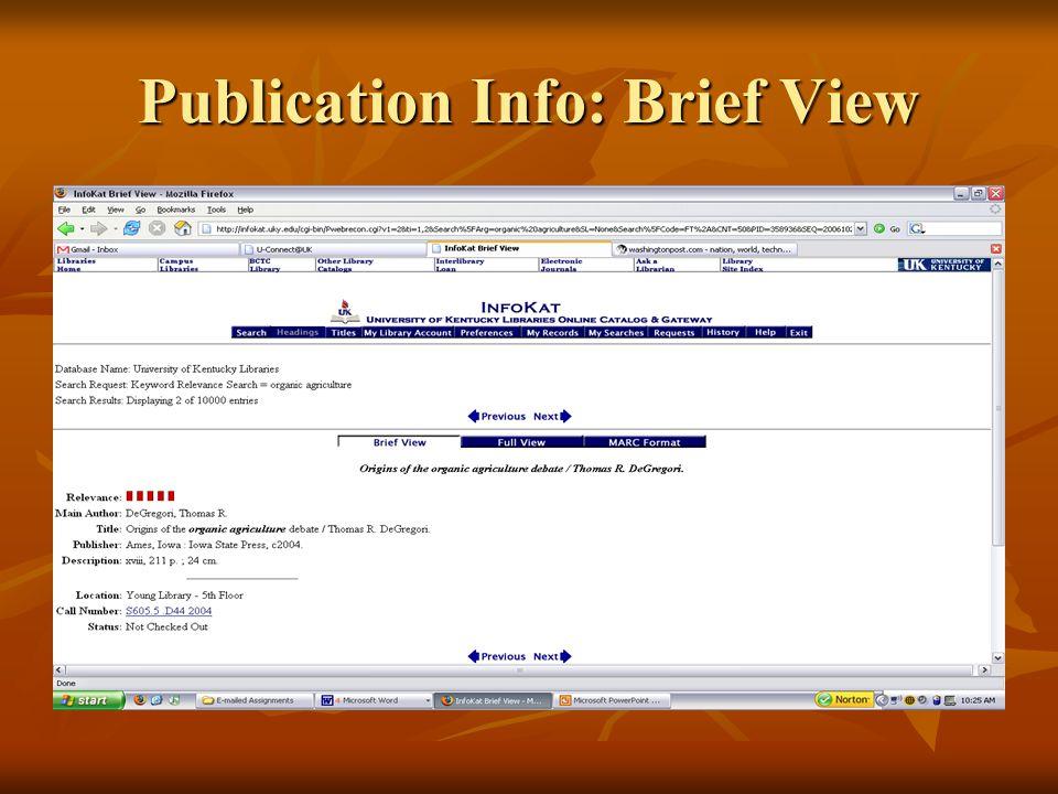 Publication Info: Brief View