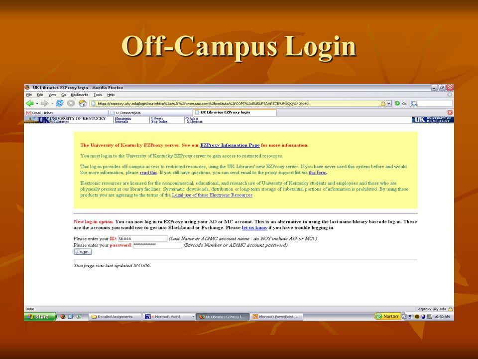 Off-Campus Login