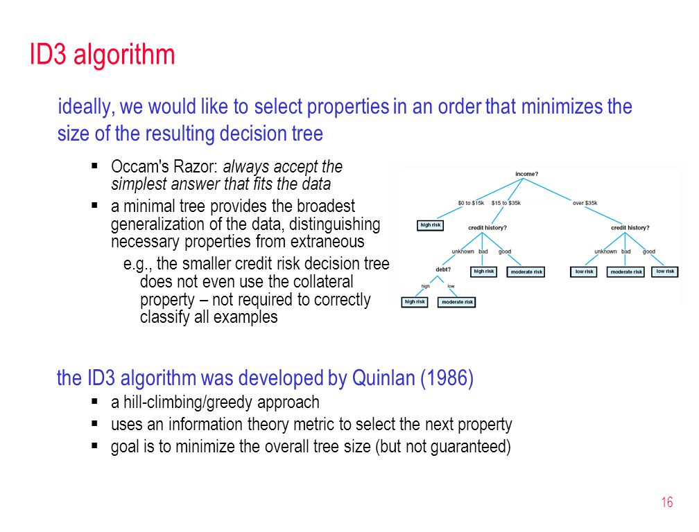 16 ID3 algorithm ideally, we would like to select properties in an order that minimizes the size of the resulting decision tree the ID3 algorithm was