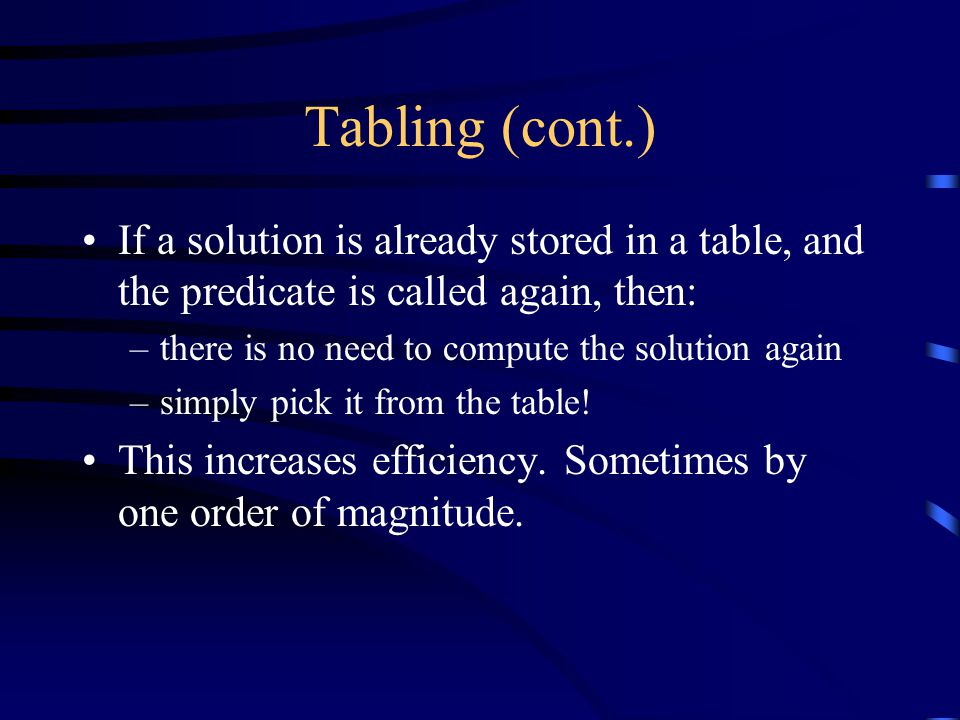 Tabling (cont.) If a solution is already stored in a table, and the predicate is called again, then: –there is no need to compute the solution again –simply pick it from the table.