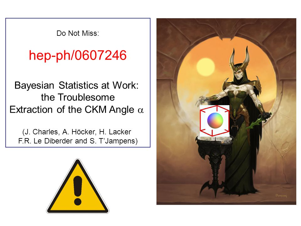 Do Not Miss: hep-ph/0607246 Bayesian Statistics at Work: the Troublesome Extraction of the CKM Angle  (J. Charles, A. Höcker, H. Lacker F.R. Le Diber