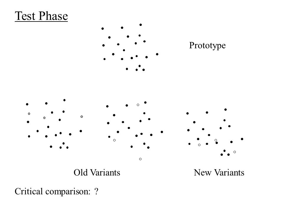 Test Phase Prototype Old VariantsNew Variants Critical comparison: ?