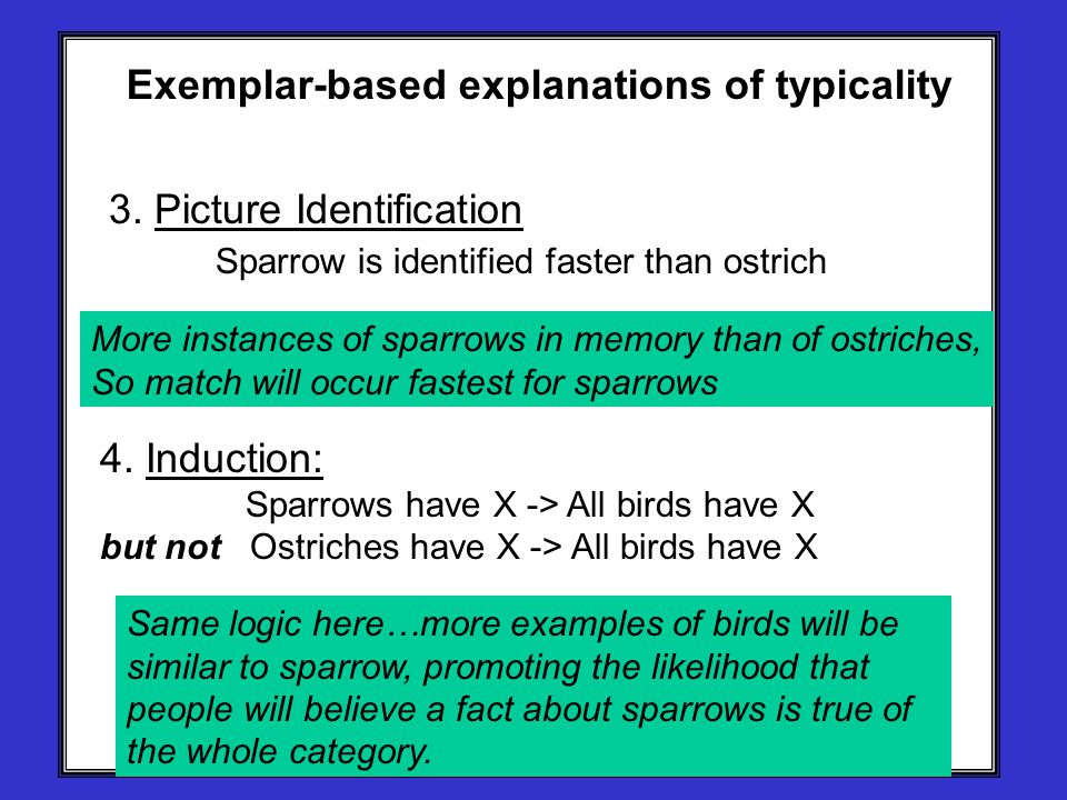 Exemplar-based explanations of typicality 3. Picture Identification Sparrow is identified faster than ostrich 4. Induction: Sparrows have X -> All bir