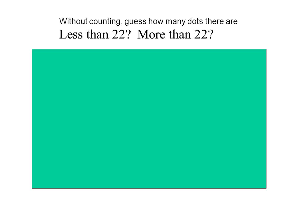 Without counting, guess how many dots there are Less than 22? More than 22?