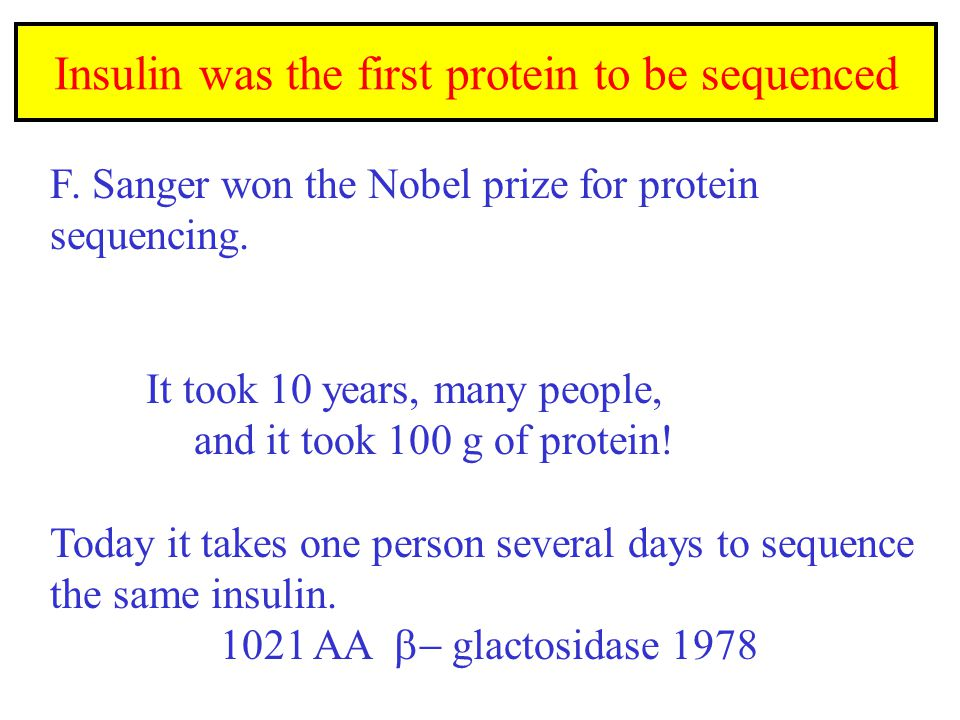 Insulin was the first protein to be sequenced F. Sanger won the Nobel prize for protein sequencing.