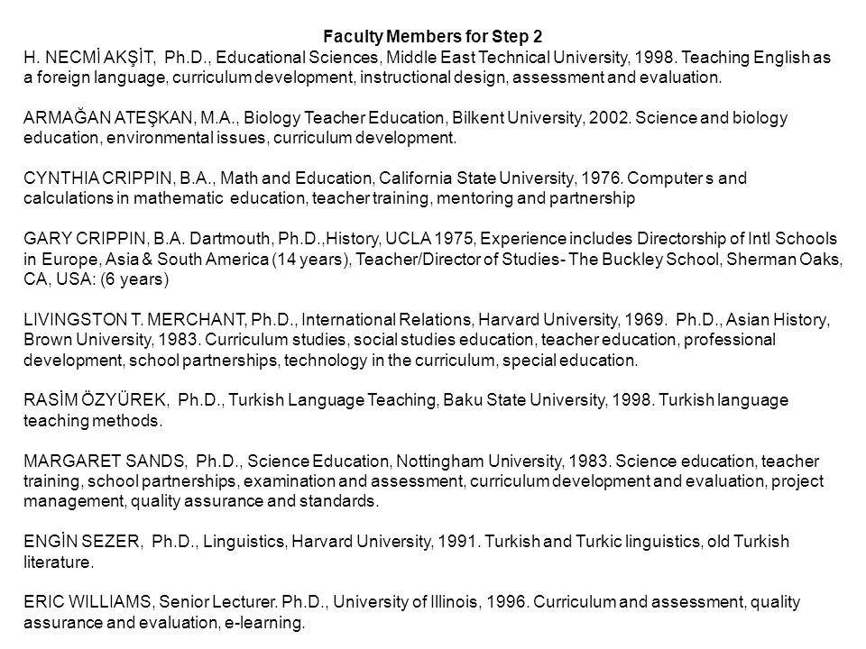 Faculty Members for Step 2 H.