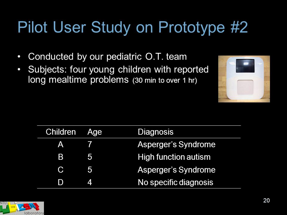 20 Pilot User Study on Prototype #2 Conducted by our pediatric O.T. team Subjects: four young children with reported long mealtime problems (30 min to