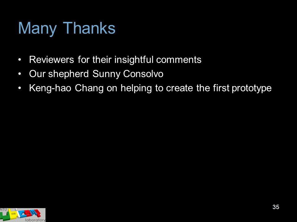 35 Many Thanks Reviewers for their insightful comments Our shepherd Sunny Consolvo Keng-hao Chang on helping to create the first prototype