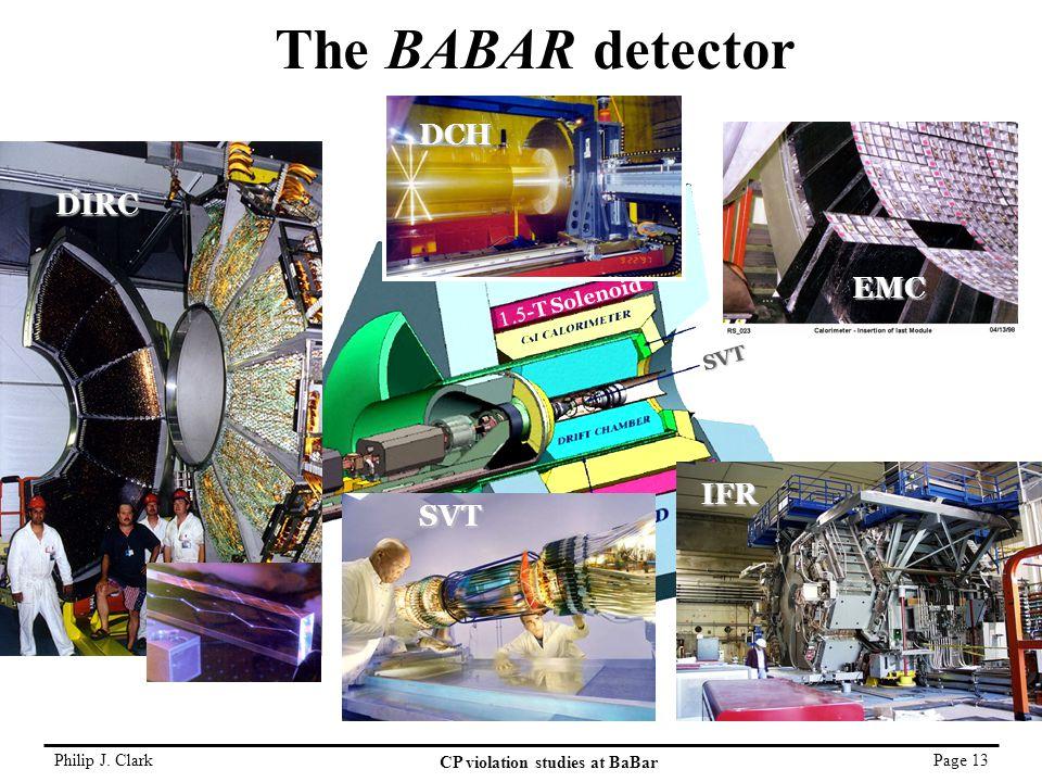 Philip J. Clark CP violation studies at BaBar Page 13 SVT  -T Solenoid The BABAR detector SVT EMC IFR DCH DIRC