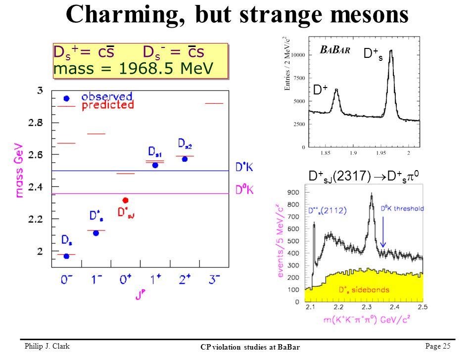 Philip J. Clark CP violation studies at BaBar Page 25 Charming, but strange mesons D+D+ D+sD+s D s + = cs D s - = cs mass = 1968.5 MeV D s + = cs D s