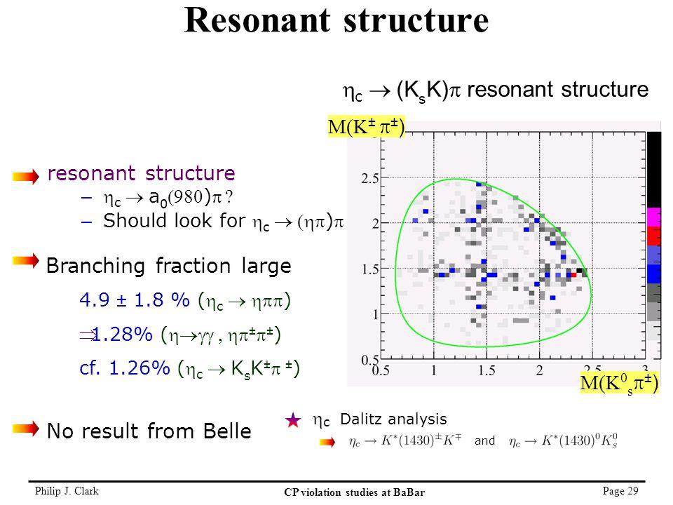 Philip J. Clark CP violation studies at BaBar Page 29 Resonant structure M(K ±  ± ) M(K 0 s  ± )  c  (K s K)  resonant structure  c Dalitz anal