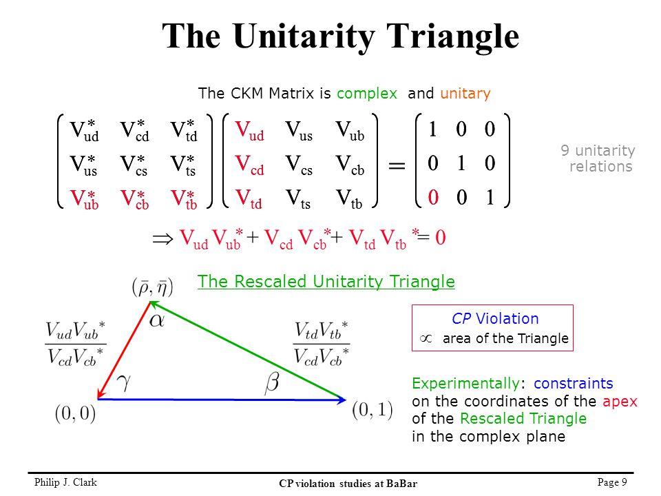 Philip J. Clark CP violation studies at BaBar Page 9 The Unitarity Triangle V ud V cd V td V us V cs V ts V ub V cb V tb = 1 0 0 0 1 0 0 0 1 V ud V us